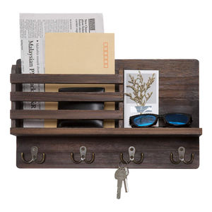 PHOTA High Quality Wooden Mail Sorter Organizer Wall Mounted Mail Holder with 4 Double Key Hooks