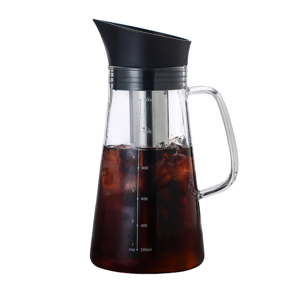 Glass Teapot with Filter Net Portable Dual Use Anti-rust Coffee Pot Glass Kitchen Accessories