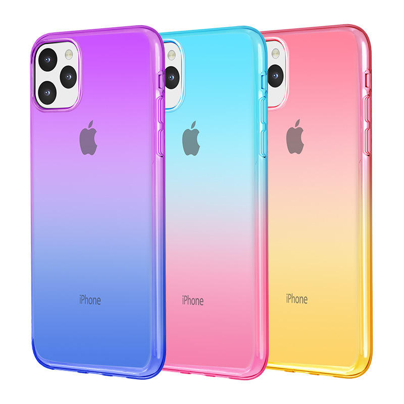 For iPhone 11 Case Crystal Clear Ultra Slim Double Color Gradient Shockproof Soft TPU Bumper Phone Case Cover For iPhone 11 Pro