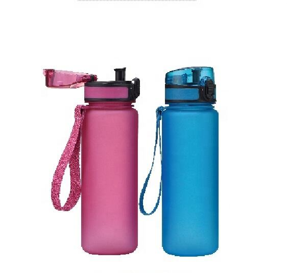 500ml Personalized plastic frosted sports water bottles with Rubber Coating