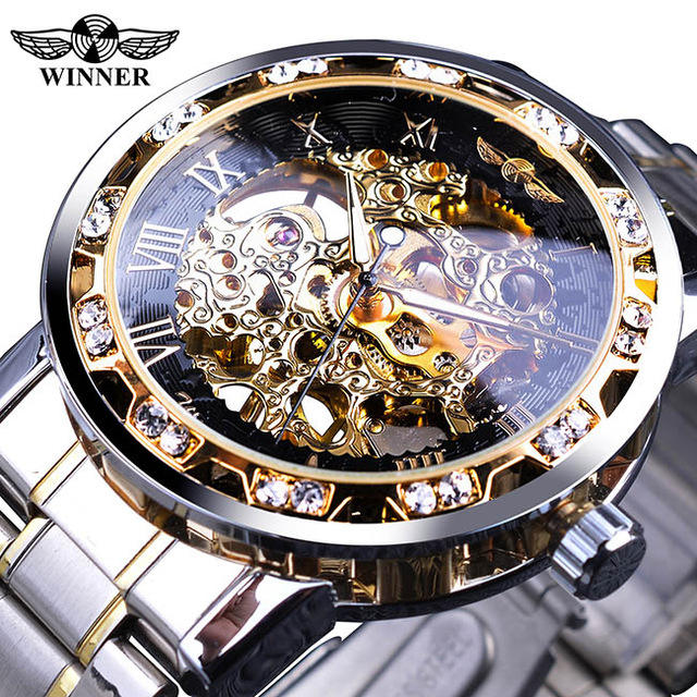 Winner Men Top Brand Luxury Transparent Fashion Diamond Luminous Gear Movement Royal Design Male Mechanical Skeleton Wrist Watch