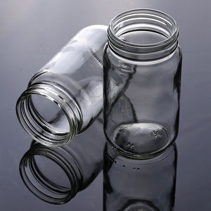 Factory wholesale 480ml large clear empty round glass mason jar for food honey spice