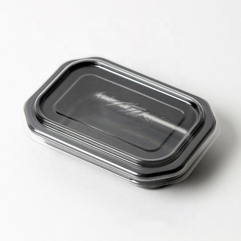 CPET disposable white/ black plastic microwave safe baking food container airline meal packaging tray with lid