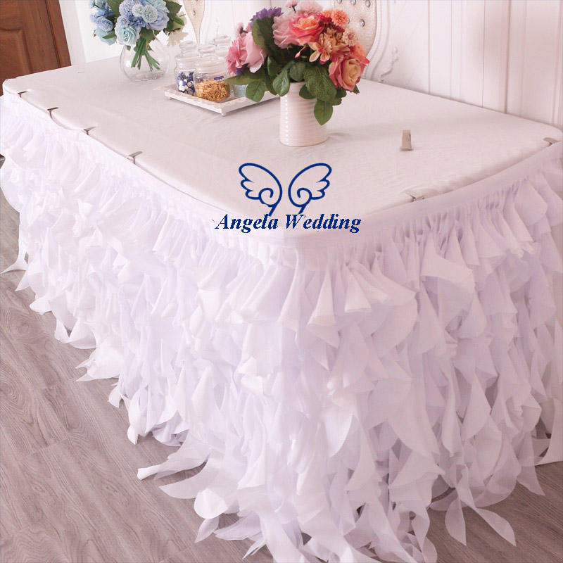 SK011C wedding manufacture pure white taffeta and chiffon curly willow 6ft rectangle banquet table skirt