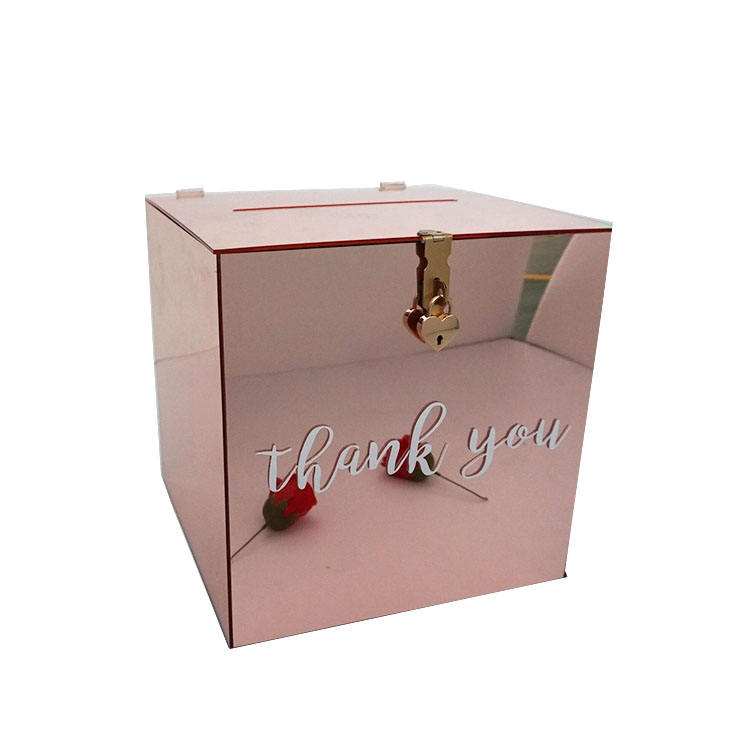 popular Mirrored white black pink rose gold silver wedding Acrylic Wishing Well Box