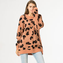 Ladies oversized Loose sweater leopard pullover turtleneck knitted sweater for women long sleeve