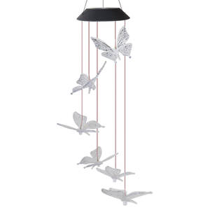 Solar Butterfly Outdoor Wind Chime Light Yard Garden Home Girl Room Decor Wall Hanging Glow Garden Light Wind Chimes