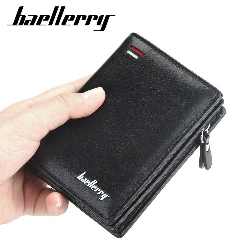 Baellerry Men Zipper Wallet Small Card Man Short Purse