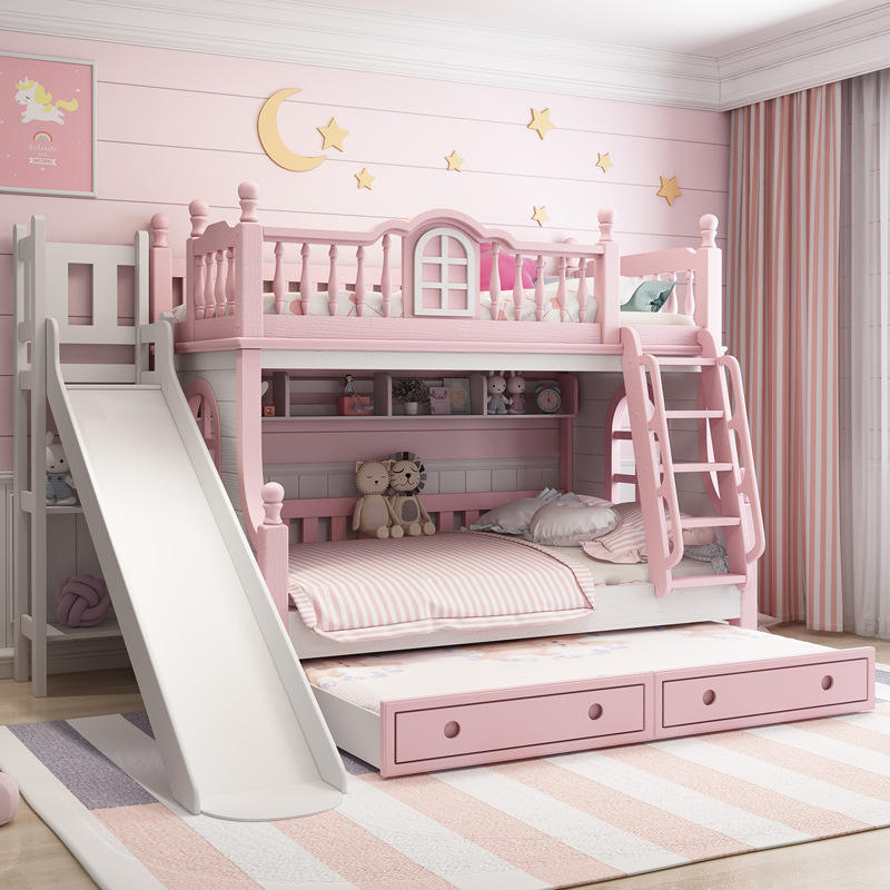 Children solid wood Pink Princess bunk bed multi functional combination bed with slide