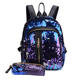 Women casual Travel hiking Sequin purple back pack with pencil case, school bags girls backpack