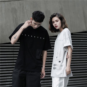 CATSSTAC regular 100 cotton customize couple apparel short sleeve round neck mens printing oversized tshirt