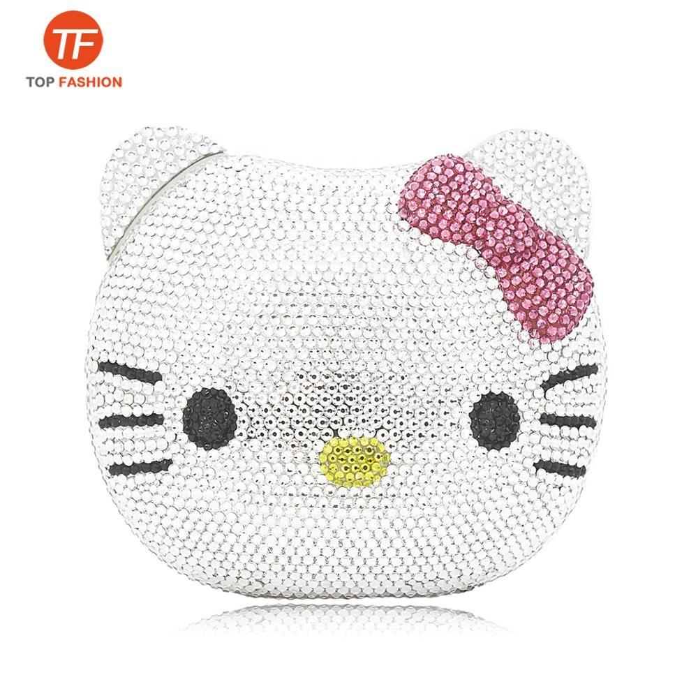 China Factory Wholesales Luxury Fully Crystal Rhinestone Clutch Evening Bag For Formal Party 3D Hello Kitty Purse