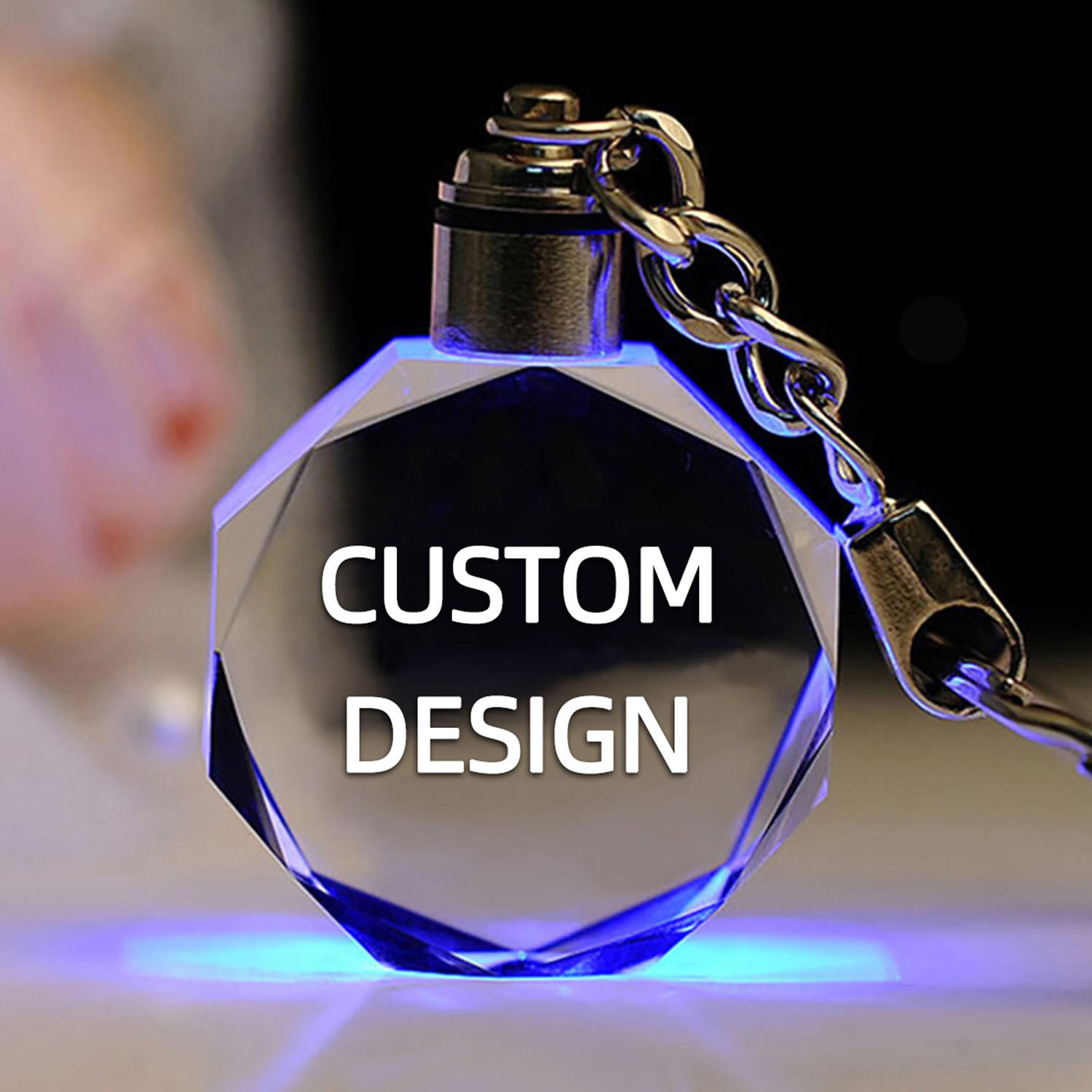 Wholesale Custom 3D Laser Engraving Led Light Keychain Crystal llaveros K9 Crystal Custom Car Logo Keychain