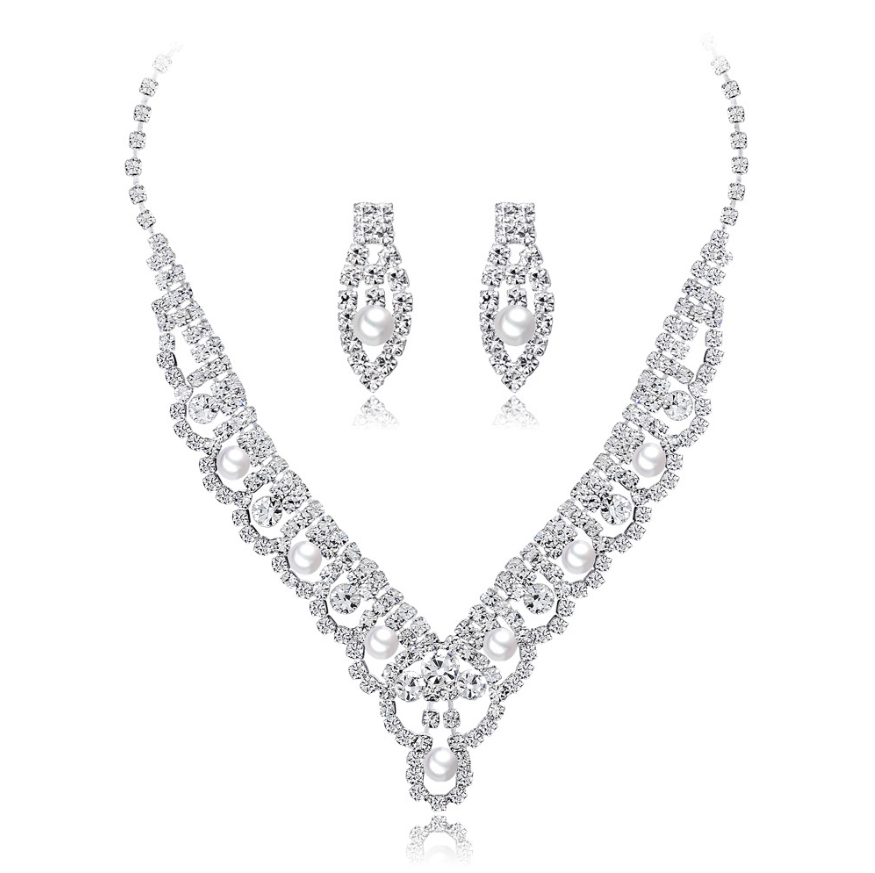 New bridal suit high-end Two-piece pearl rhinestone unique design handmade earrings necklace jewelry set for women gift wedding