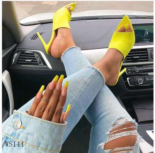 2020 Summer Women's Sandals Shoes Trendy Sandalias Leather High Heels For Ladies