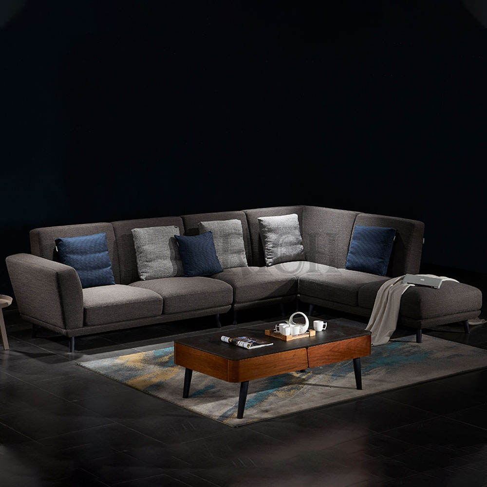 Villa grand furniture European style sectional sofa home high end L shaped grey fabric latex corner sofa with small footrest