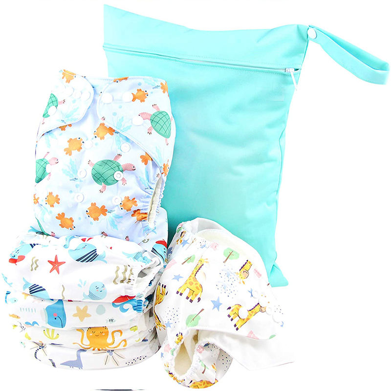 One Size Baby Washable Reusable Pocket Cloth Diapers, 6 Pack with 6 One Size Microfiber Inserts