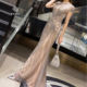 Luxury full diamond O-neck Sexy Evening Dresses Design Beading Evening Gowns Short Sleeve Occasion Dress