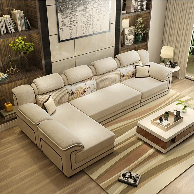 Sofá de la sala de muebles para el Hogar Moderno marco de madera de esponja suave en forma de L