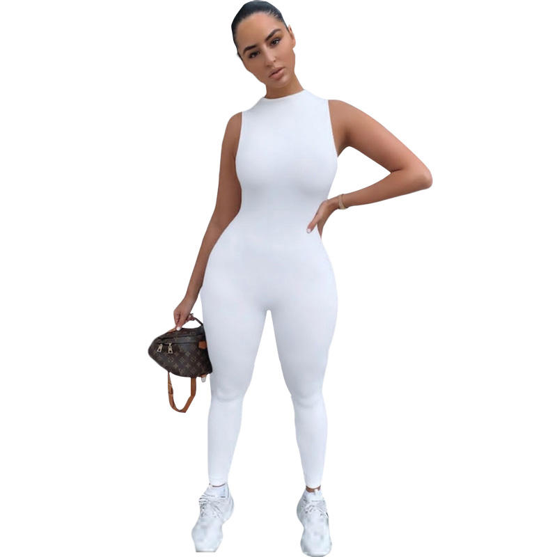Women Bodysuit sportswear Custom logo clothing Vendors Knit Blank Fitted Sleeveless Jumpsuit one piece Jumpsuits women's