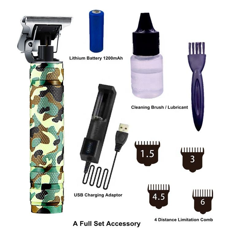Professional Oil Head Fader USB Rechargeable Bald Hair Clipper Men Cordless T-shape Waterproof Electric Hair Trimmer