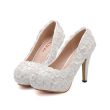 2019 Latest Design Women Pearl High Heel Pumps Sexy Full Lace Platform Bridal Shoes Ladies Stiletto Lace Pearl Wedding Shoes