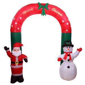 2.7m Outdoor Inflatable Christmas Santa   Snowman Arch With LED Light