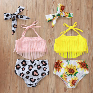 Hot style swimming suit baby summer leopard sunflower three piece Kids bikini bathing suit