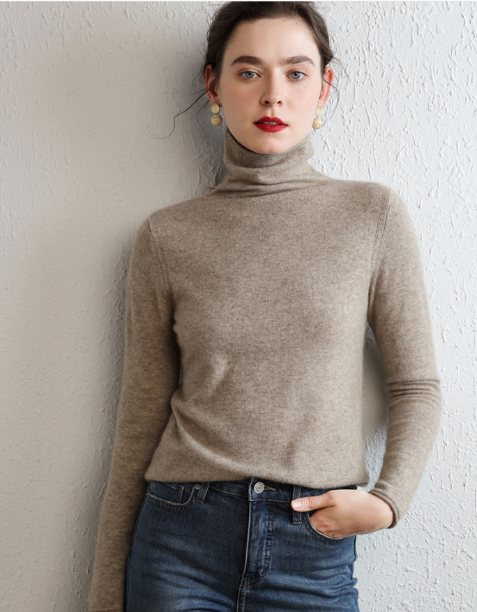 Women jumper female cashmere pullover turtleneck with a base coat thin stacked neck sweater