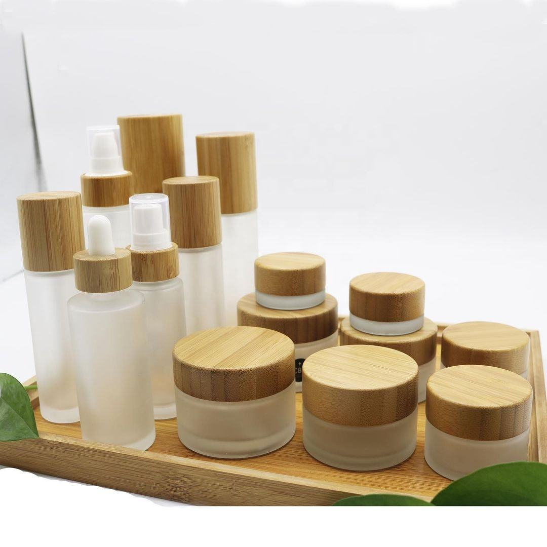 Cosmetic Jar Bamboo Glass Container Frosted Round Cosmetic Jar With Bamboo Lid Use Skin Care Cream Cap Material bamboo