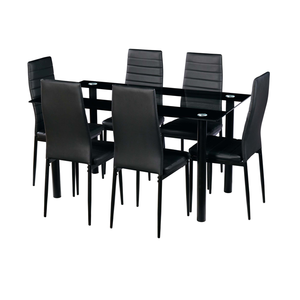 Luxury nordic high quality modern dining table set tempered glass dining table and 6 chairs