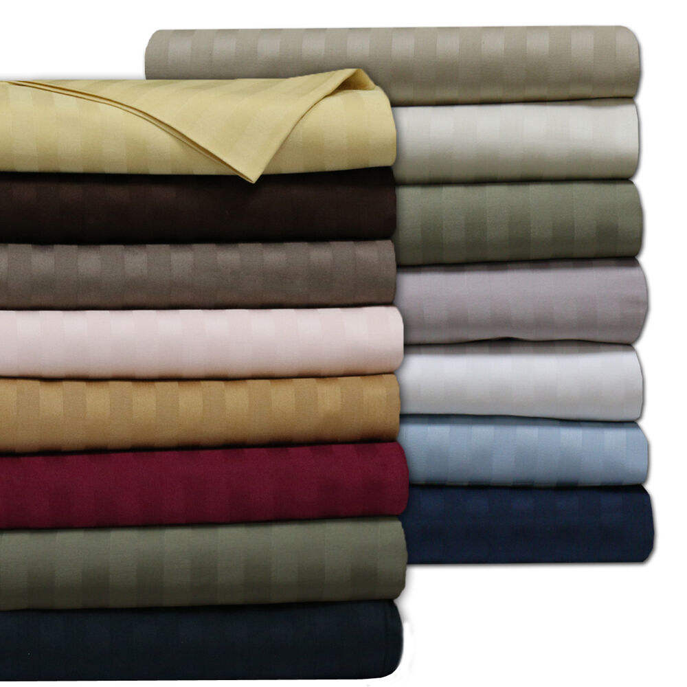 500 TC Egyptian organic Cotton stripe Sheet Set Bed Sheet