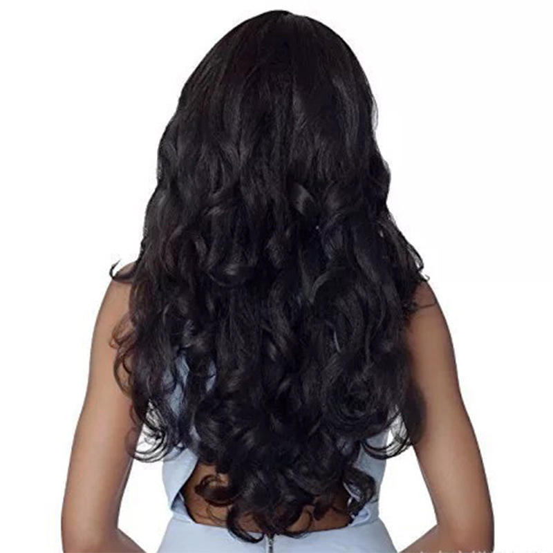 Manufacturer sells Amazon wig women's medium black long wavy curly African chemical fibre full head set spot