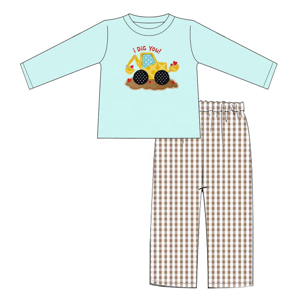 Valentine's Day High quality baby clothes boutique boy clothings set embroidery cotton baby outfit set children clothes