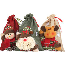 Linen Large  3D Doll Cartoon christmas bags for gift  drawstring christmas gift bags for christmas decoration