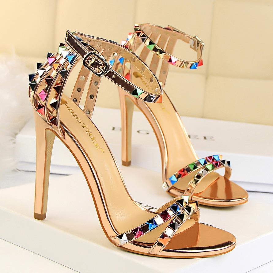 Roman Style Open Toe One Line Hollow Out Color Rivet Super High Heel Women's Shoes