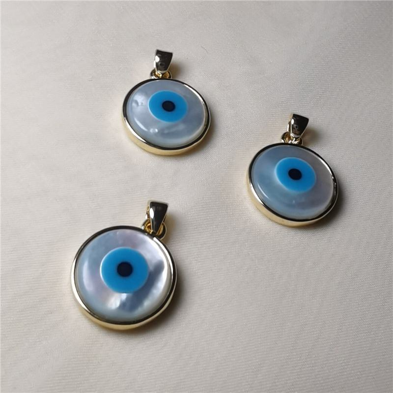 18k gold plated mother of pearl shell evil eye charm pendant for jewelry