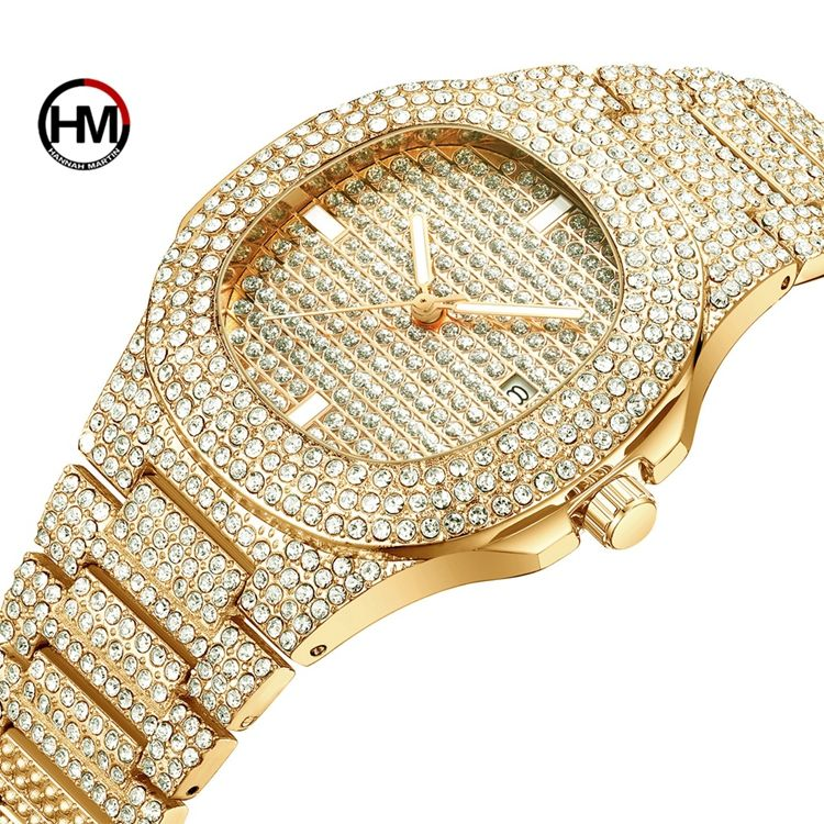 Special Stylish Style HANNAH MARTIN HM-510 Women Quartz Watches Diamond Square Stainless Steel Case Ladies Watch