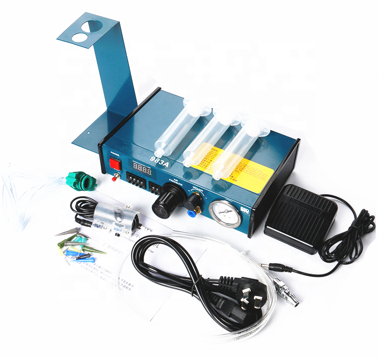 983 glue dispenser equipment,manual pedaling glue double control dispensing system,automatic epoxy resin dispensing