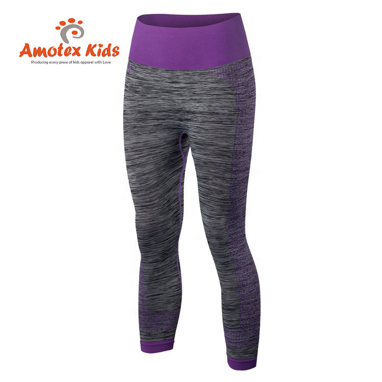 Amotex Age 12 Skinny Child Kid Teen Young Girl Yoga Wear Leggings Tight Pants Eco-friendly Waterproof OEM Service Seamless Solid