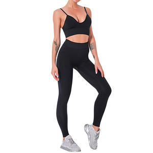 Workout Clothes For Women Sports Bra+Leggings Female Black White Plaid String Sportswear Fitness Tracksuit