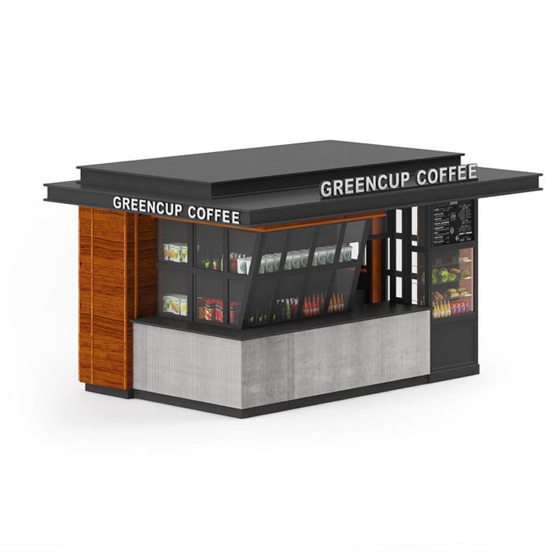Attractive Shopping Mall Outdoor Cafe Tea Kiosk Custom Commercial Simple Coffee Mall Kiosk