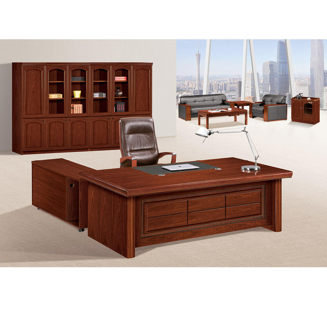 Luxury wooden presidential bureau desk antique furniture sets