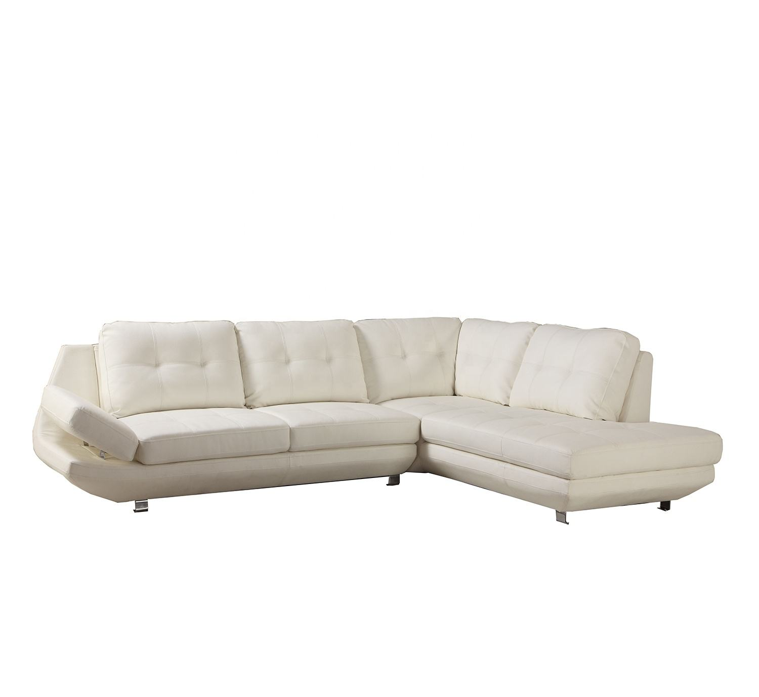 High quality pure white leather manufacturing daily furniture metal feet with double chaise sectional corner sofa