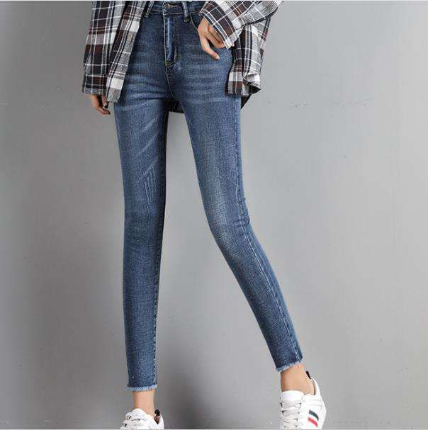 spring summer ankle-length elastic tight jeans narrow bottom girls jeans lady narrow feet jeans