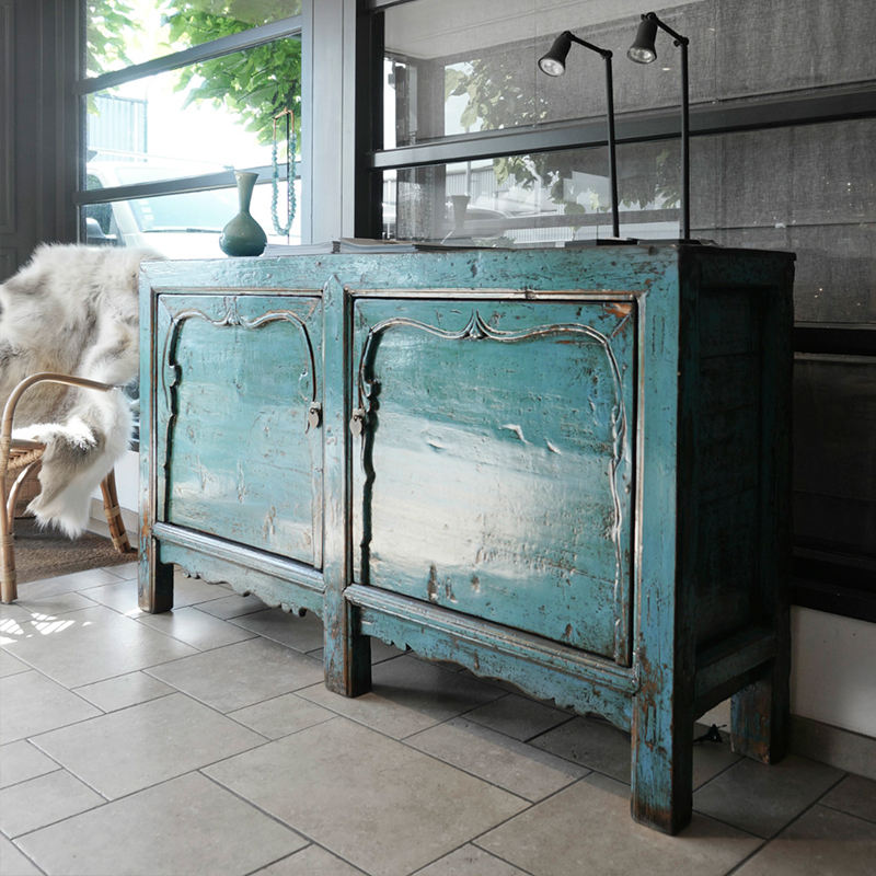 Antique sideboard with oriental blue lacquer, sideboard with 2 doors