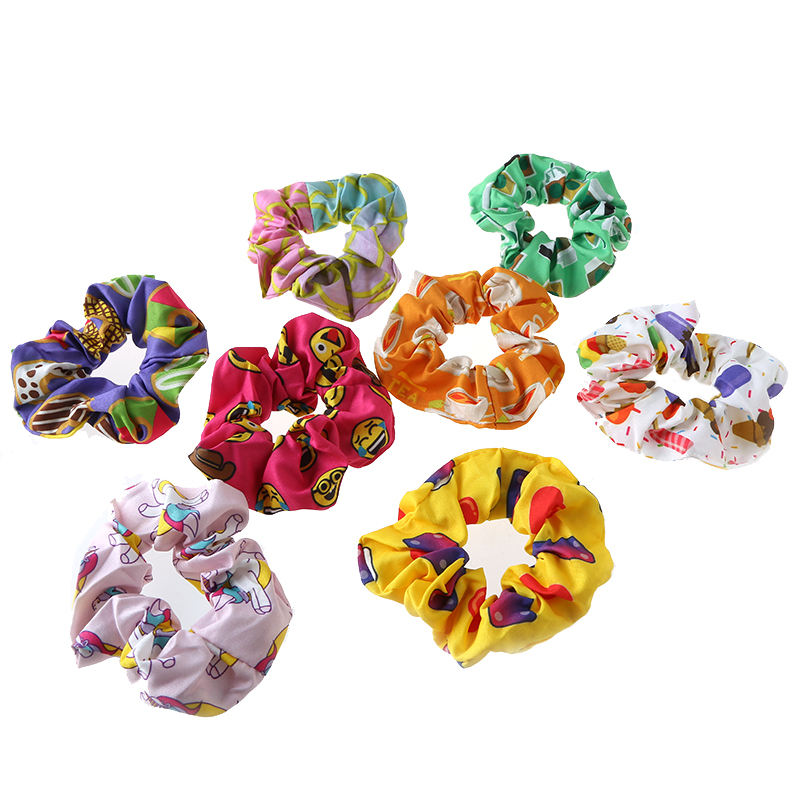8 pack excellent quality cute patterns no tangle scrunchies hair ties pony tail holder for school aged girls and kids