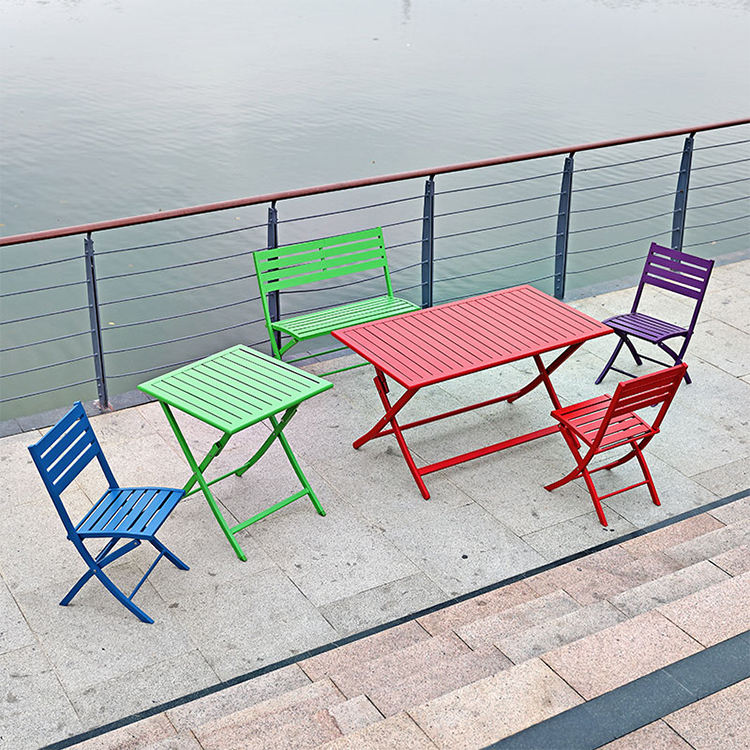 Uland Portable Aluminum Folding Balcony Outdoor Furniture Sets Cheap Bench Chairs For Small Balcony