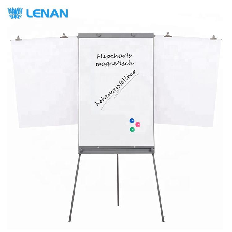New design magnetic writing white board mobile flipchart easel tripod flip chart stand with extended arms
