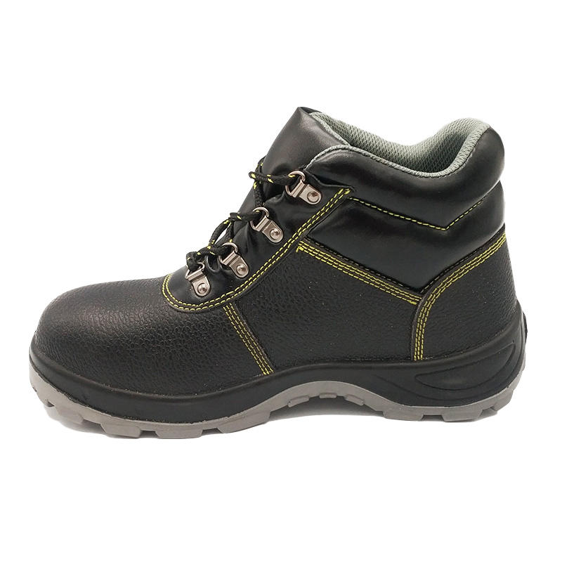 Wholesale Mens Black High Heel Work Rubber Safety Shoes Boots Steel Toe